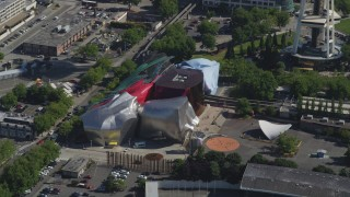 AX47_051 - 5K stock footage aerial video of the Museum of Pop Culture at Seattle Center in Downtown Seattle, Washington