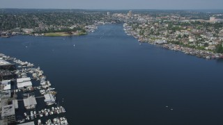 AX47_064 - 5K stock footage aerial video fly over marinas and Lake Union, with boats in the water, Seattle, Washington