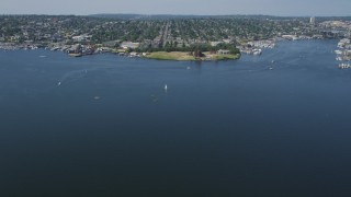 AX47_065 - 5K stock footage aerial video fly over Lake Union to approach Gas Works Park, Wallingford, Seattle, Washington