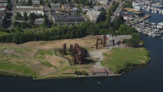 AX47_075 - 5K stock footage aerial video tilt and flyby Gas Works Park beside Lake Union, Wallingford, Seattle, Washington