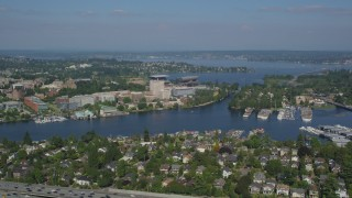 AX47_082 - 5K stock footage aerial video of approaching University of Washington and Portage Bay in Seattle, Washington