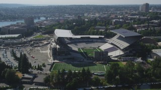 AX47_086 - 5K stock footage aerial video flyby Husky Stadium at the University of Washington, Seattle