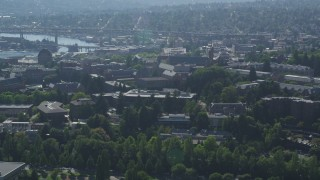 AX47_087 - 5K stock footage aerial video of University of Washington campus buildings, Seattle, Washington