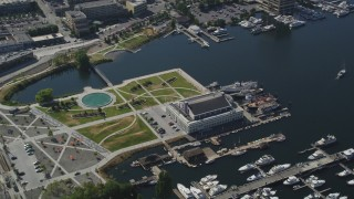 AX47_094 - 5K stock footage aerial video of orbiting Lake Union Park and the Museum of History and Industry, Seattle, Washington