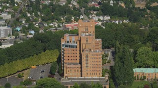 AX47_140 - 5K stock footage aerial video of approaching the Pacific Tower on Beacon Hill, Seattle, Washington