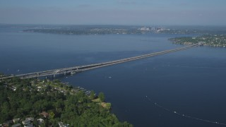 AX47_142 - 5K stock footage aerial video of Lacey V. Murrow Memorial Bridge spanning Lake Washington to Mercer Island, Seattle, Washington