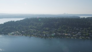 AX48_003 - 5K stock footage aerial video flyby lakefront homes on Mercer Island, Lake Washington