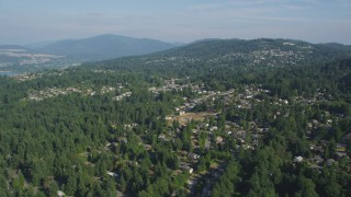 AX48_013 - 5K stock footage aerial video flyby suburban homes on a hill with trees, Bellevue, Washington