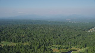 AX48_024 - 5K stock footage aerial video of flying over evergreen trees, Sammamish, Washington