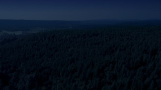 AX48_042_DFN - Aerial stock footage of 4K day for night color corrected aerial footage of a lush evergreen forest in King County, Washington