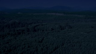 AX48_047_DFN - Aerial stock footage of 4K day for night color corrected aerial footage of flying over evergreen trees to approach a wide clear cut area, King County, Washington