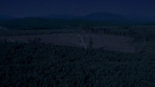 AX48_048_DFN - Aerial stock footage of 4K day for night color corrected aerial footage of a logging clear cut area in an evergreen forest, King County, Washington