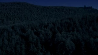 AX48_076_DFN - Aerial stock footage of 4K day for night color corrected aerial footage of flying over dense evergreen forest in King County, Washington