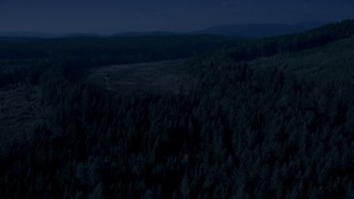 AX48_094_DFN - Aerial stock footage of 4K day for night color corrected aerial footage of evergreens and pan across forest and clear cut areas, King County, Washington