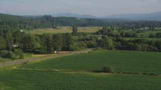 AX49_017 - 5K stock footage aerial video of flying by a country road by a field of crops, Carnation, Washington