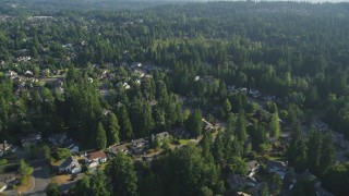 AX49_027 - 5K stock footage aerial video fly by residential neighborhood and evergreen trees, Sammamish, Washington