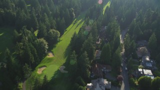 AX49_028 - 5K stock footage aerial video of a bird's eye view of upscale homes and tall evergreen trees, Sammamish, Washington