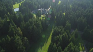 AX49_029 - 5K stock footage aerial video of bird's eye view of the Sanalee Country Club, and reveal the club house in Sammamish, Washington