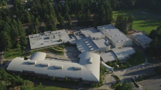 AX49_035 - 5K stock footage aerial video of Interlake High School in Bellevue, Washington