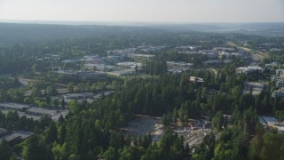 AX49_036 - 5K stock footage aerial video of flying by Microsoft Headquarters, Redmond, Washington