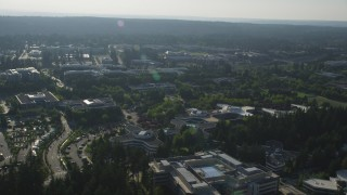 AX49_044 - 5K stock footage aerial video of orbiting the Microsoft Headquarters office complex, Redmond, Washington