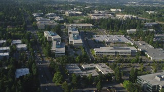 AX49_046 - 5K stock footage aerial video of an orbit of the Microsoft Headquarters office complex in Redmond, Washington