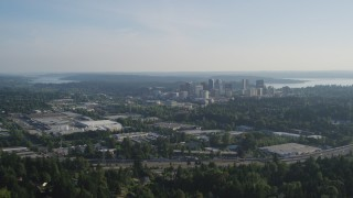 AX49_047 - 5K stock footage aerial video approach Downtown Bellevue, Washington, from warehouse building northeast of the city