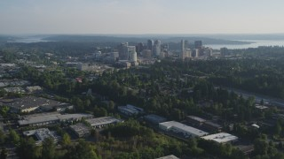 AX49_048 - 5K stock footage aerial video of a view of Downtown Bellevue, Washington, from warehouse buildings