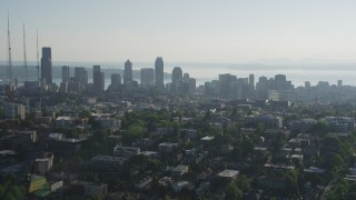 AX49_057 - 5K stock footage aerial video approach the Downtown Seattle from east of the city, Washington