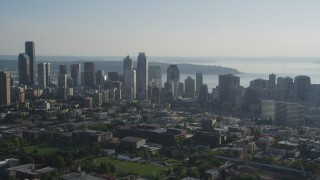 AX49_058 - 5K stock footage aerial video flyby the skyline of Downtown Seattle, Washington