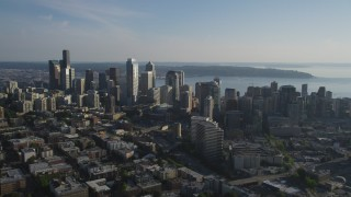 AX49_059 - 5K stock footage aerial video of skyscrapers and high-rises in Downtown Seattle, Washington