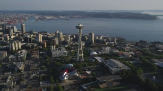 AX49_062 - 5K stock footage aerial video of orbiting the Space Needle to reveal Downtown Seattle skyscrapers and high-rises, Washington
