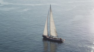 AX49_080 - 5K stock footage aerial video track a sailboat on Elliott Bay, reflecting the sunlight, Seattle, Washington