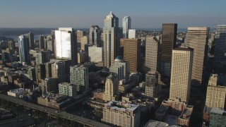 AX49_085 - 5K stock footage aerial video of towering skyscrapers and high-rises in Downtown Seattle, Washington