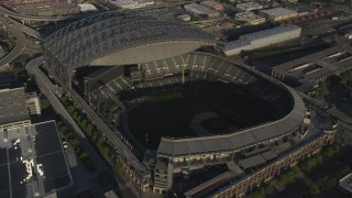 AX49_093 - 5K stock footage aerial video of CenturyLink Field and approach Safeco Field, Downtown Seattle, Washington