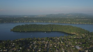 AX49_097 - 5K stock footage aerial video of Andrews Bay and the Bailey Peninsula in Lake Washington