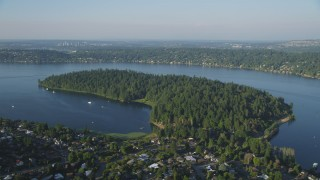AX49_098 - 5K stock footage aerial video of Bailey Peninsula and Andrews Bay on Lake Washington