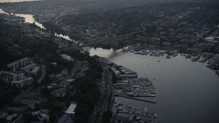 AX50_082 - 5K stock footage aerial video of the Aurora Bridge spanning the Fremont Cut, Lake Union, Seattle, Washington, sunset