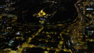 AX51_091 - 5K stock footage aerial video approach Pacific Tower on Beacon Hill, Seattle, Washington, night