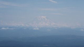 AX52_003 - 5K stock footage aerial video of Mount Rainier with snow, Cascade Range, Washington