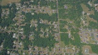 AX52_006 - 5K stock footage aerial video of bird's eye view of suburban neighborhoods, Auburn, Washington