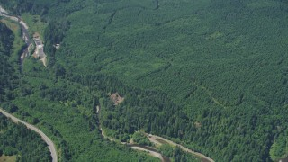 AX52_024 - 5K stock footage aerial video of reverse view of evergreen forests, revealing the North Fork Toutle River in Washington