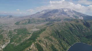 AX52_043 - 5K stock footage aerial video of Mount St. Helens seen from Castle Lake, Washington