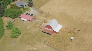 AX52_075 - 5K stock footage aerial video of a red barn and farm fields in La Center, Washington