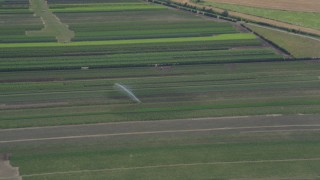 AX52_101 - 5K stock footage aerial video of tracking a sprinkler watering a crop field in Riverview, Oregon