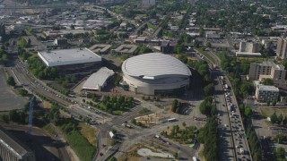 AX53_021 - 5K stock footage aerial video of approaching Memorial Coliseum and Moda Center, Lloyd District, Northeast Portland, Oregon