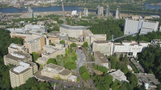 AX53_029 - 5K stock footage aerial video of orbiting the Oregon Health and Science University, Portland, Oregon