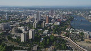 AX53_031 - 5K stock footage aerial video of approaching skyscrapers and city buildings, Downtown Portland, Oregon