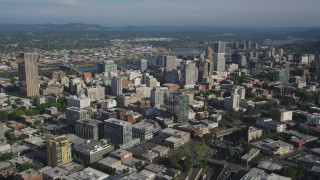 AX53_052 - 5K stock footage aerial video of approaching city skyscrapers and high-rises, Downtown Portland, Oregon
