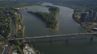 AX53_056 - 5K stock footage aerial video of orbiting Ross Island Bridge, Portland, Oregon